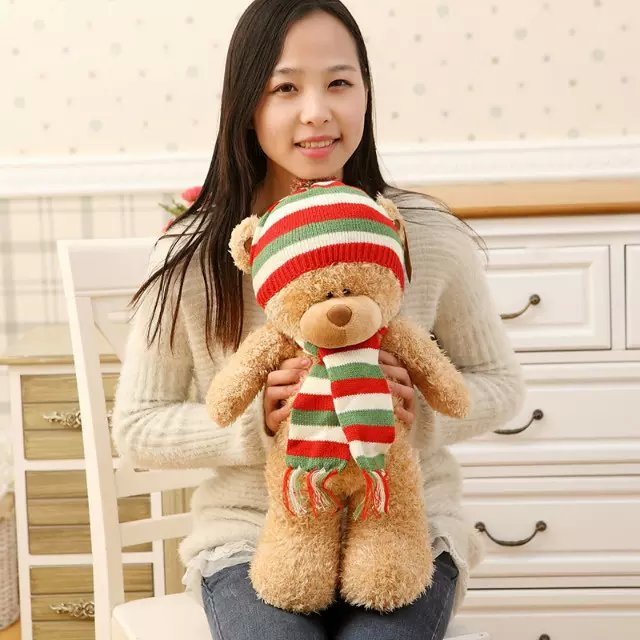 middle cute plush light brown teddy bear toy lovely teddy bear with red hat and scraf doll gift about 40cm стоимость