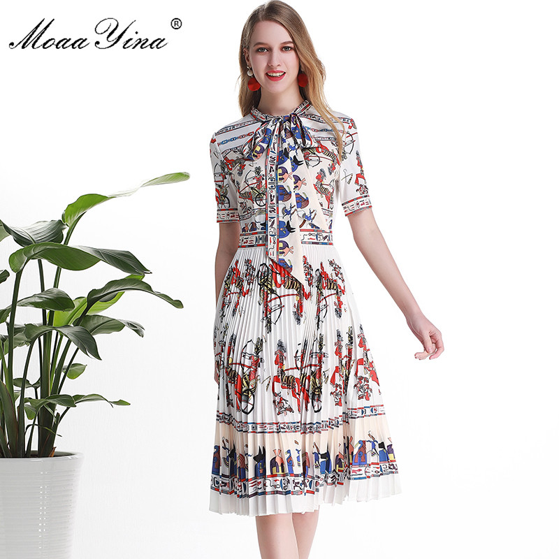 MoaaYina Fashion Designer Runway dress Spring Summer Women Dress Short sleeve Bow collar Cartoon Print Pleated