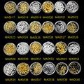 100 pcs/bottle Novo Geométrica Liga Ouro Prata 3D Decorações Da Arte Do Prego Prego Charme Stud DIY Manicure Ferramentas MA0517-MA0540