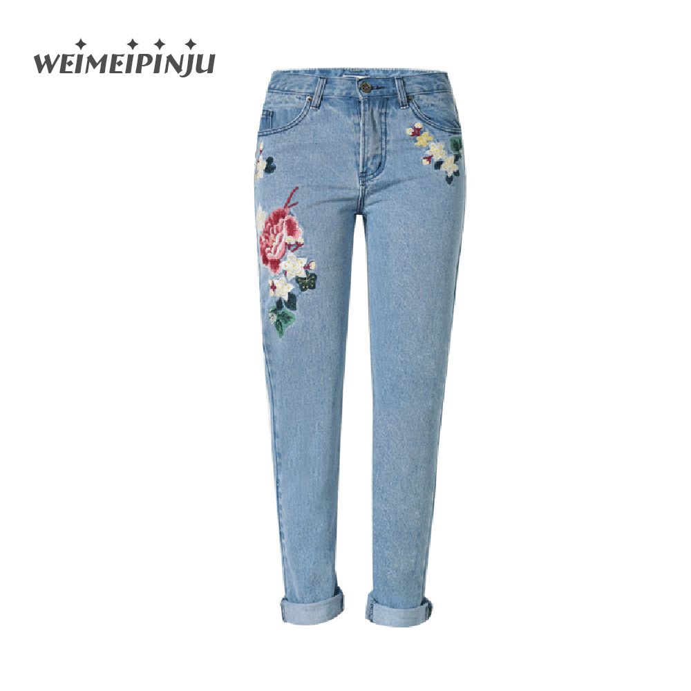 Womens Jeans Embroidered Floral Fashion Boyfriend Jeans Woman Taille Haute Plus Size Straight Wide Leg ladies Overalls Denim Pan charter club 0605 womens cotton animal print embroidered blouse top plus bhfo