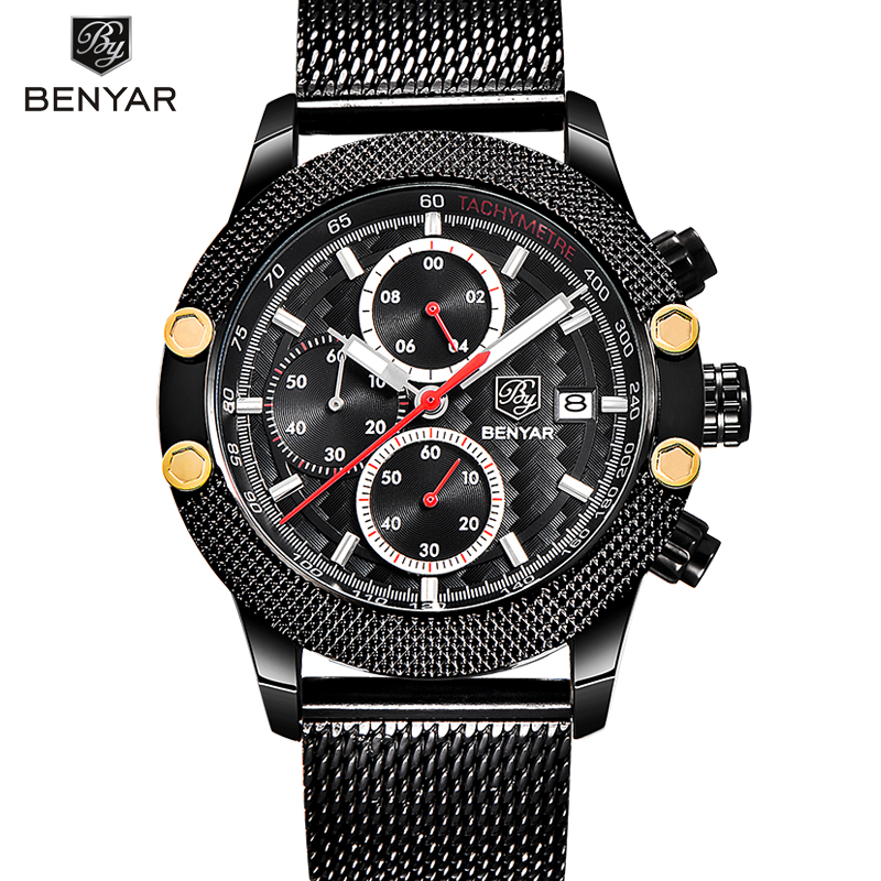 BENYAR Quartz Watch Men 2017 Fashion Mens Watches Top Brand Luxury Famous Wrist Watch Male Clock Hodinky Relogio Masculino mens watch top luxury brand fashion hollow clock male casual sport wristwatch men pirate skull style quartz watch reloj homber