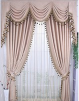 Ready Curtain With Decorative Beads 3pcs Lot Curtains With Hooks Punching Rod Pocket Adjust Length For