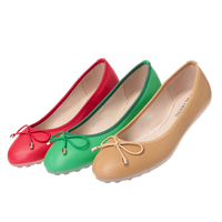 2019 New Spring Lady Flats PU Leather Ballet Flats Women's Shoes European and American Style Butterfly Knot Shallow Round Head