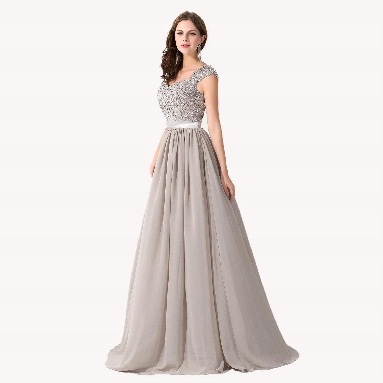 Popular silver bridesmaid dresses plus size buy cheap silver new lace long bridesmaid dresses 2016 silver a line wedding party gowns plus size maid of ombrellifo Image collections