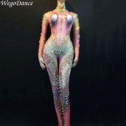 Nuevas mujeres Sexy etapa diamantes de imitación grandes mono Glisten mono traje de baile de cumpleaños celebrar cantante noche mono