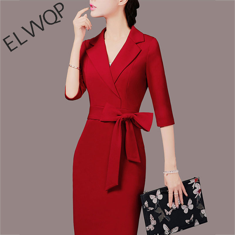 Msaiss 2018 Autumn Winter Slim Suit Ladies Dresses Elegant Women Dress Office Casual Blazer Red Dress Women's Clothing