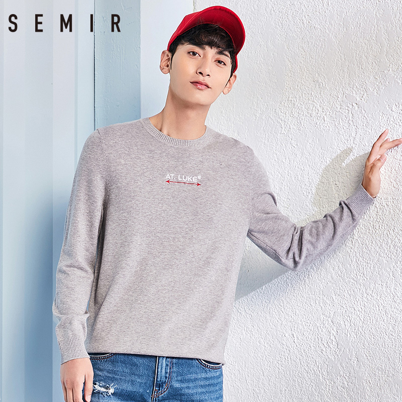 SEMIR sweater mens pullover O neck cotton clothes with embroidery for man simple classic sweater for spring chic fashion mens