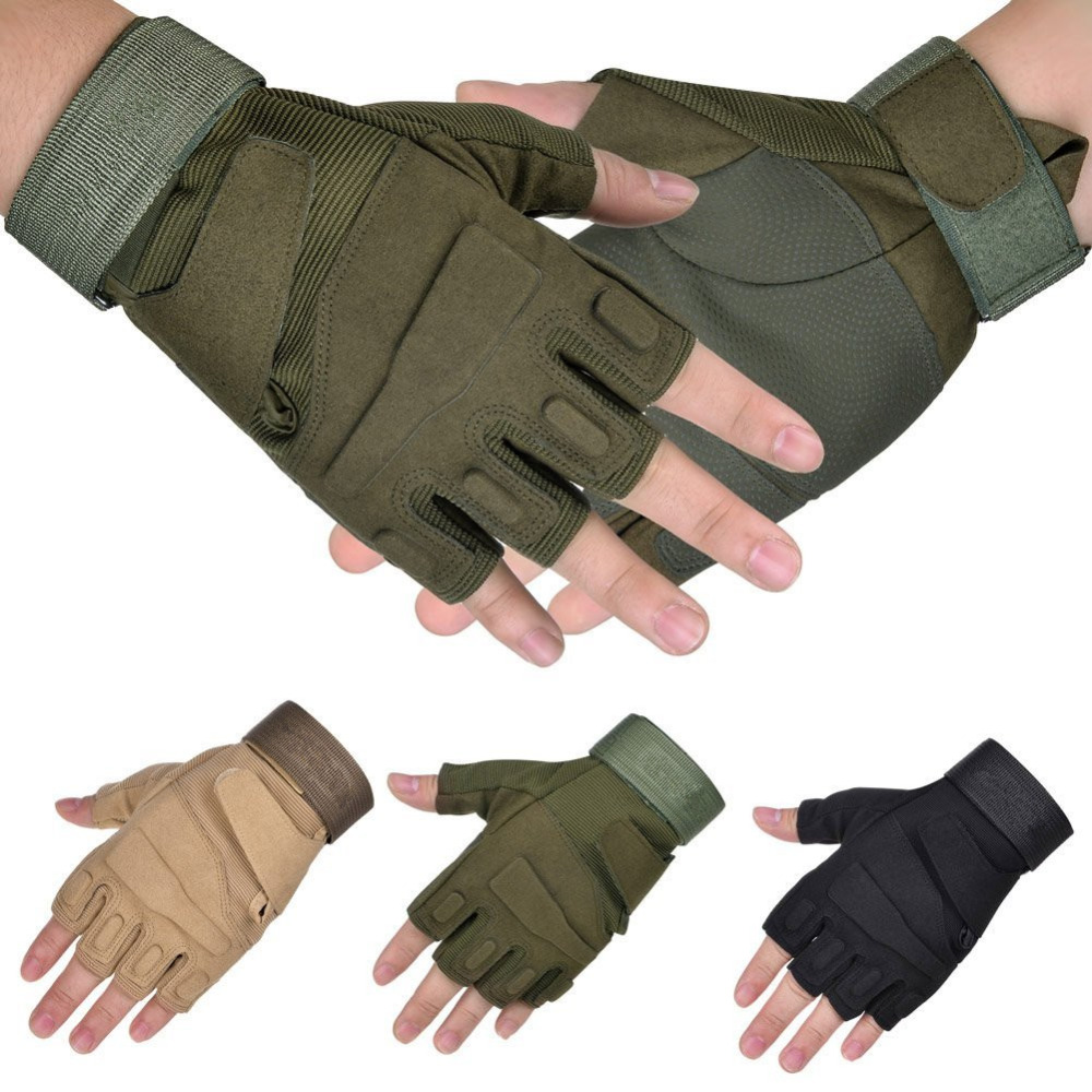 Mens gloves no fingers - 1pair Military Half Finger Gloves Fingerless Tactical Airsoft Hunting Riding Cycling Gloves Boxing Summer Gloves
