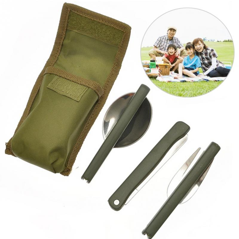 Camping Picnic Tableware 3pcs set Multi-function Stainless Steel Army Green  Folding Cutlery Set 1ab053c4c105
