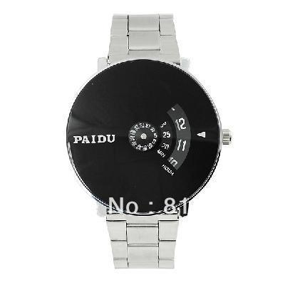 NEW Silver Black PAIDU Quartz Wrist Watch Turntable Dial Mens Clock Hours Gift