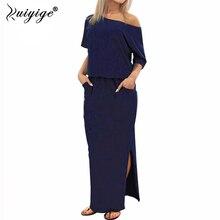 Ruiyige 2018 Для женщин повседневные офисные одно плечо платье макси длинное платье Лето льда шелк молока мешковатые Сплит сарафан с карманом