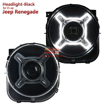 SONAR brand for Jeep Renegade Black LED Projector Lens Car Headlights Assembly 2015 year up Bi-xenon Car-styling Tuning lamps