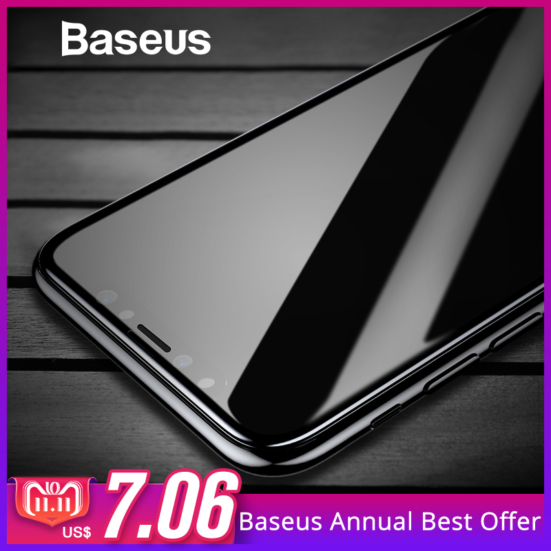 Vidrio Templado Baseus para iPhone X Protector de pantalla superficie 4D vidrio de cobertura completa para iPhone X cubierta de película frontal 0,3mm película delgada