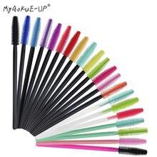 50 pçs silicone mascara varinhas aplicador descartável cílios escovas toalha forma maquiagem escova para ferramentas de extensão de cílios