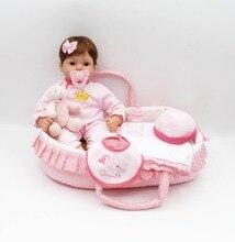NPK sleeping basket reborn baby toy dolls 17″41cm soft silicone vinyl reborn baby girl dolls bebe reborn bonecas play house toy