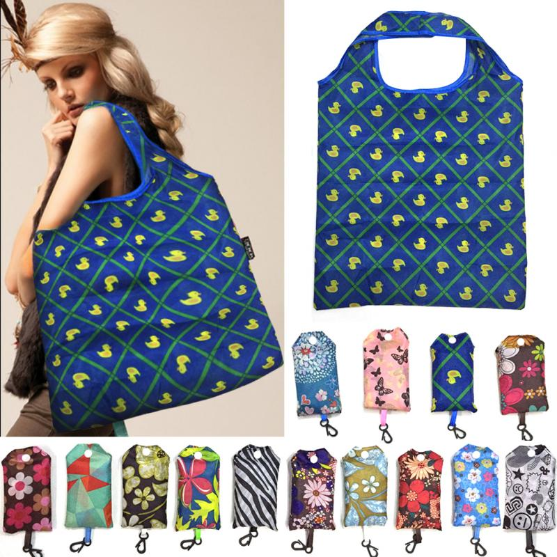 Women Portable Nylon Folding Shopping Bag Print Shoulder Bag Reusable Large Shoulder Market Beach  Holiday Laundry Bag