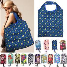 Women Portable Nylon Folding Shopping Bag Print Shoulder Reusable Large Market Beach  Holiday Laundry
