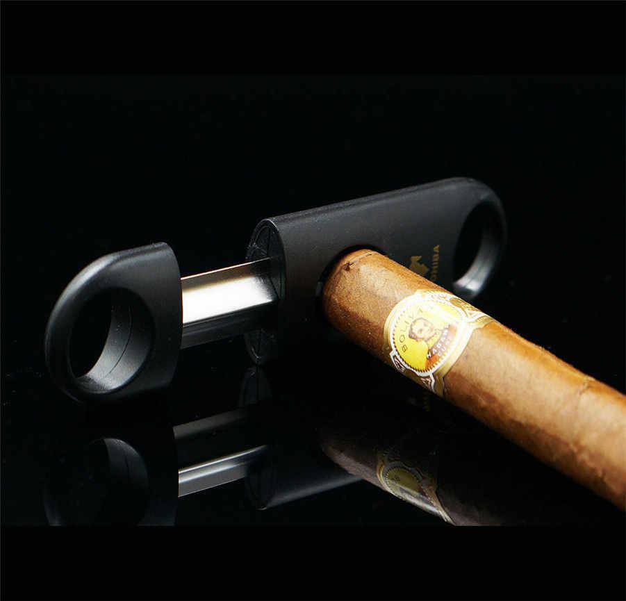 حار كوهيبا البلاستيك V قطع الفولاذ شفرة فولاذية السيجار القاطع شارب Sigaar قطع أداة السيجار المقصلة جيب Zigarren القاطع