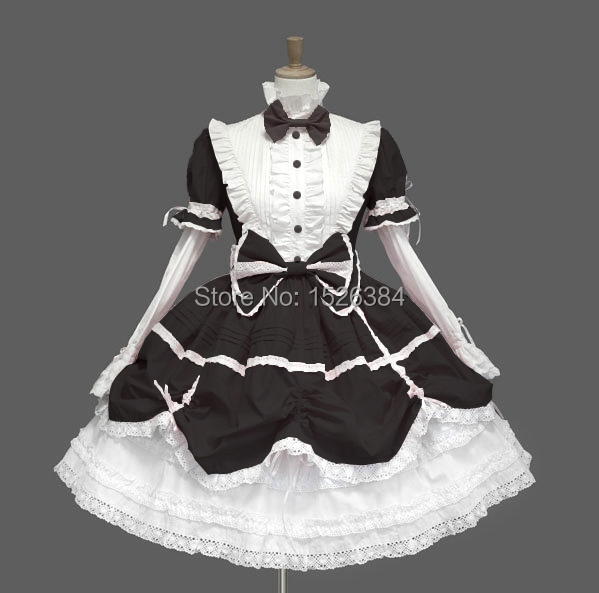 Cotton Lace Gothic Lolita Dress With Bows And Removable Sleeves L2