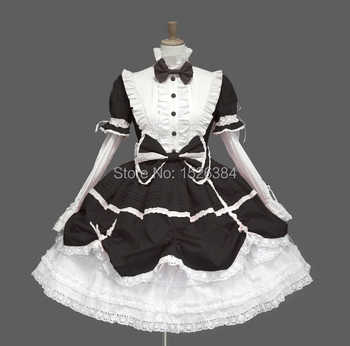 Cotton Lace Gothic Lolita Dress With Bows And Removable Sleeves L2 - DISCOUNT ITEM  0 OFF All Category