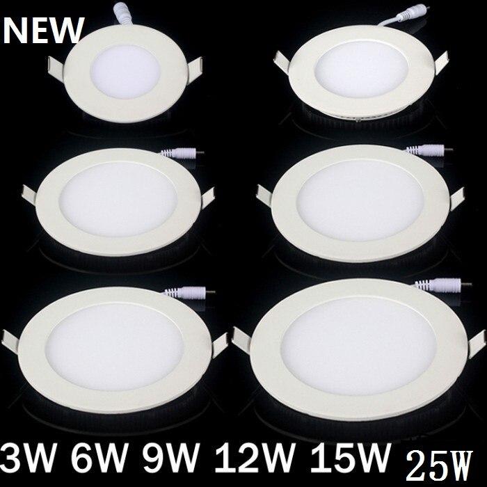 調光可能な超薄型3ワット/4ワット/6ワット/9ワット/12ワット/15ワット/25ワットledシーリング凹んグリッドダウンライト/スリムラウンド/スクエアパネルライト+ドライバ  グループ上の ライト & 照明 からの ダウンライト の中 1