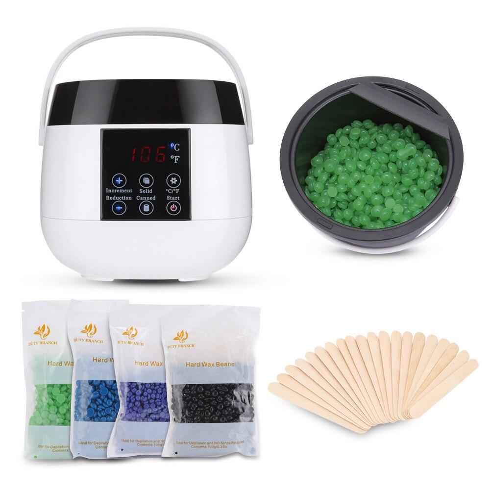 Elektrische Smart Wachs Heizung Hautpflege Epilierer Kit Mit Bohnen Sticks Smart Maschine Körper Enthaarung Haar Removal Tool Led-anzeige