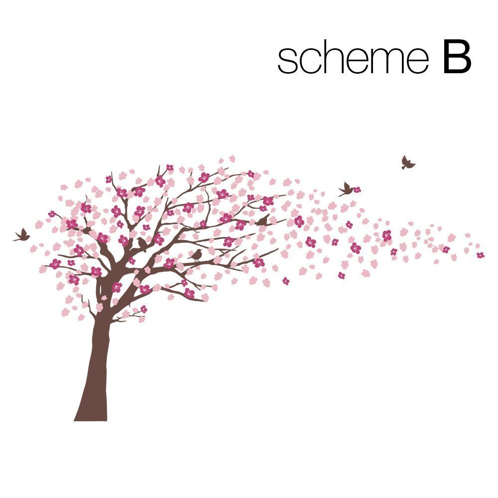 Bruin Kersenbloesem Boom voor nursery decor Vinyl muurtattoo voor kinderkamer decor (Kleurenschema B Bruin Boom) - 4