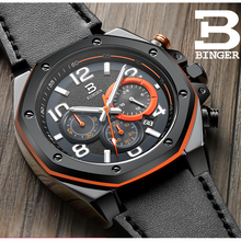 BINGER Watch Men Switzerland Luxury Brand Men Watches Multi Chronograph Wristwatches Male Quartz Luminous Hand Sport clock B8231 luxury brand switzerland binger tungsten steel men s watch quartz watch beer barrel full steel wristwatches bg 0394 5