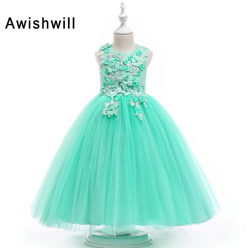 3D   Flowers   Kids Pageant   Dress   Sleeveless Ball Gown   Flower     Girl     Dresses   For Weddings First Communion   Dresses   For   Girls