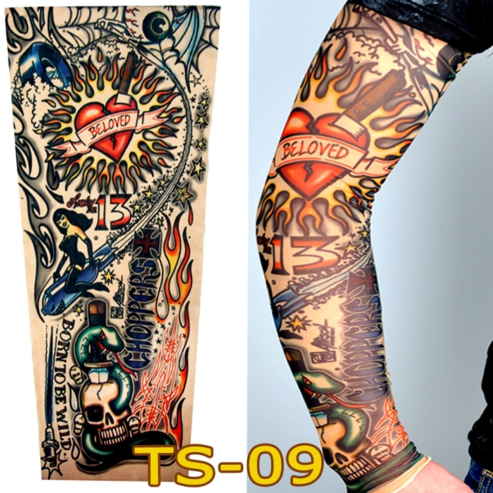 Free Shipping 2017 New Fashion Born To Be Wild 92% Nylon+8% Spandex Fake Tattoo Arm Sleeves