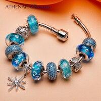 ATHENAIE 925 Серебристая Летняя коллекция синий снежинка кулон с Сердце Подвески и CZ Стекло шарики Полные Браслеты для Для женщин