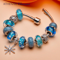 ATHENAIE 925 Silver Summer Collection Blue Snowflake Pendant With Heart Charms and CZ Glass Beads Complete Bracelets For Women