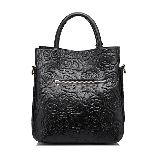 REALER brand genuine leather handbag female leather black tote bag high quality floral embossed handbag ladies shoulder bag