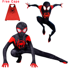 Black Miles Morales Spiderman 3D Print Costume Adult Kids Boys Spider Man Cosplay Costume