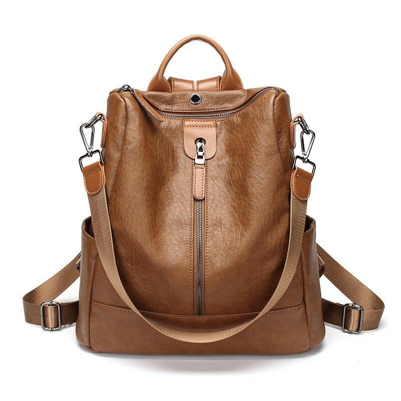 Couro genuíno mochila feminina moda saco de escola para adolescentes mochilas casuais couro marca portátil 2019 sacos femininos c695