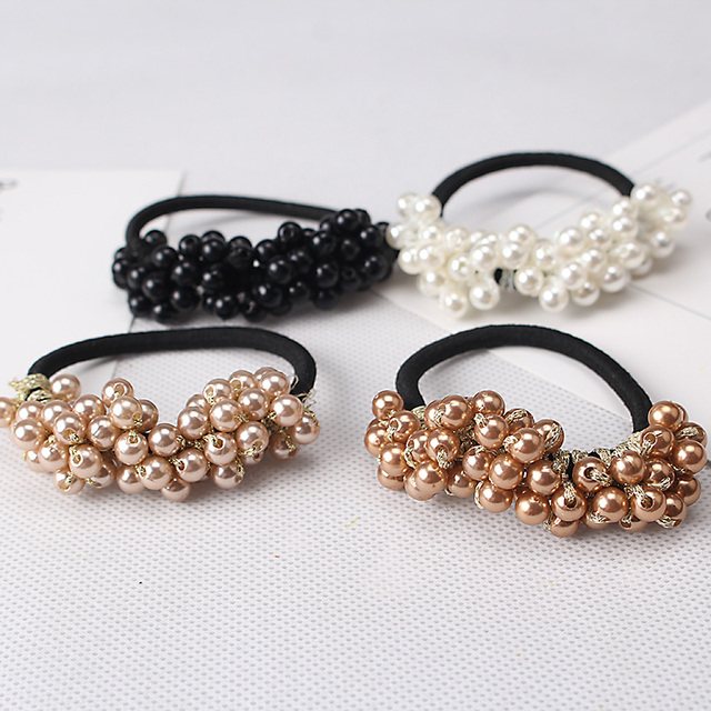 Women Hair Accessories Pearls Beads Headbands Ponytail Holder Girls Scrunchies Vintage Elastic Hair Bands Rubber Rope Headdress 1