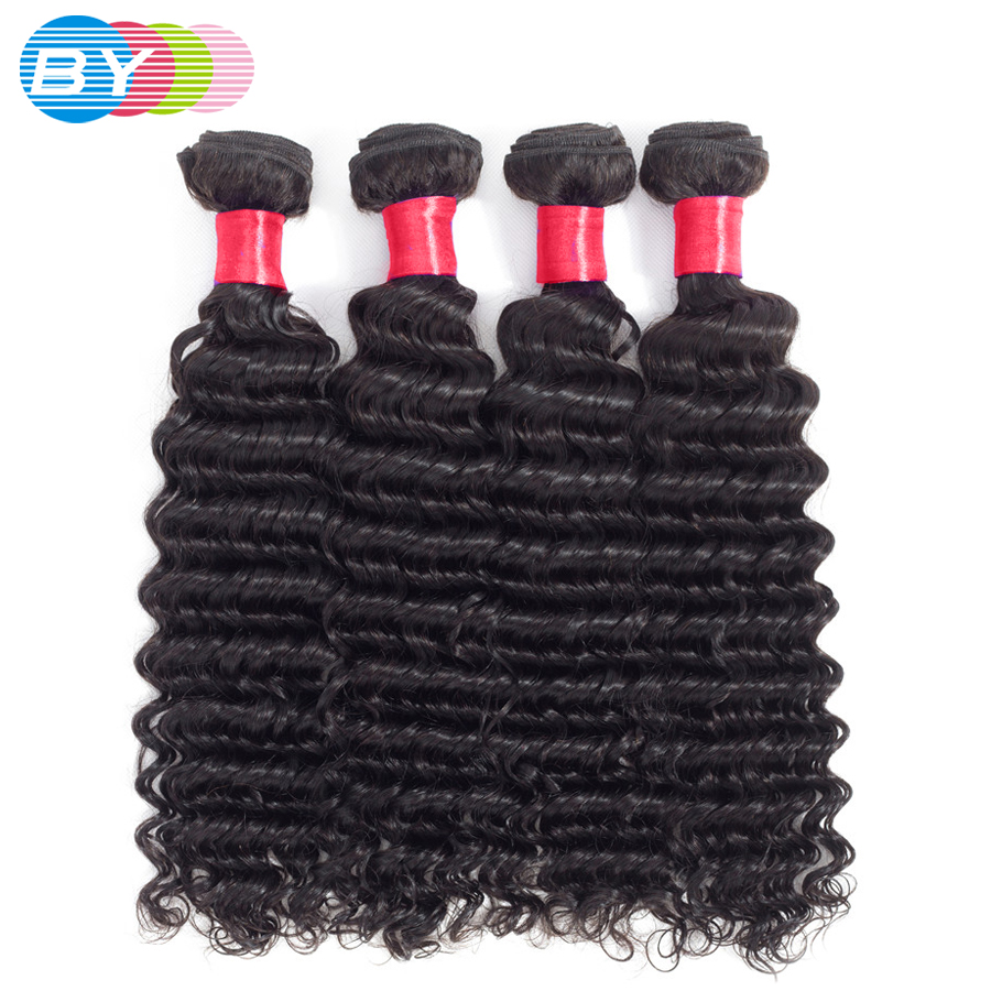 BY Deep Wave Bundles 3Pcs Human hair bundles Remy Hair Natural Color Brazilian Hair Weave Bundles