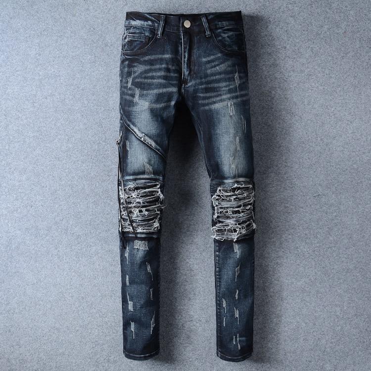 BOU BOU 2017 tide male locomotive pants high street Biker Jeans feet hole cultivate one's morality men's Jeans