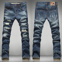 2016 Mens Overalls Fashion Slim Skinny Jeans Designer Brand Ripped Jeans Men Solid Casual Straight Jeans