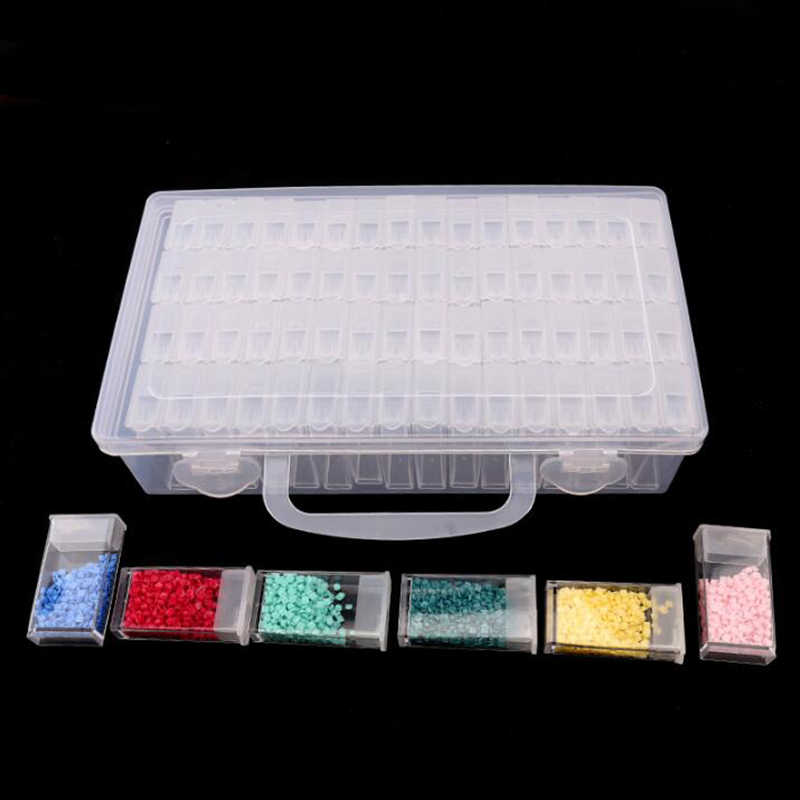Transparent Diamond Beads Container Rhinestone Daimond Stone Organizer Storage Cover with Hole Diamond Painting Accessory Box 91
