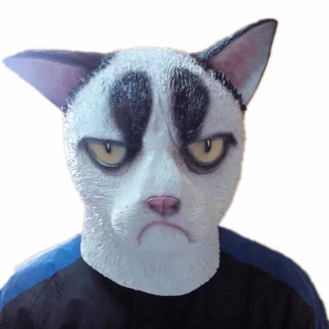 Grumpy Cat Head Mascarilla Unisex Divertido Latex Cosplay Máscaras de Animales para la Fiesta de Halloween