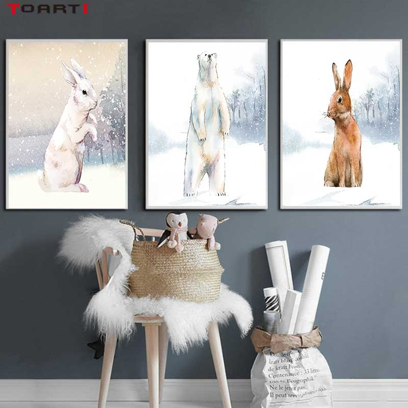 Image 2 - Modern Snowfield Cartoon Animals Prints Posters Wall Art Rabbits Polar Bears Canvas Painting For Kids Nursery Bedroom Home Decor-in Painting & Calligraphy from Home & Garden