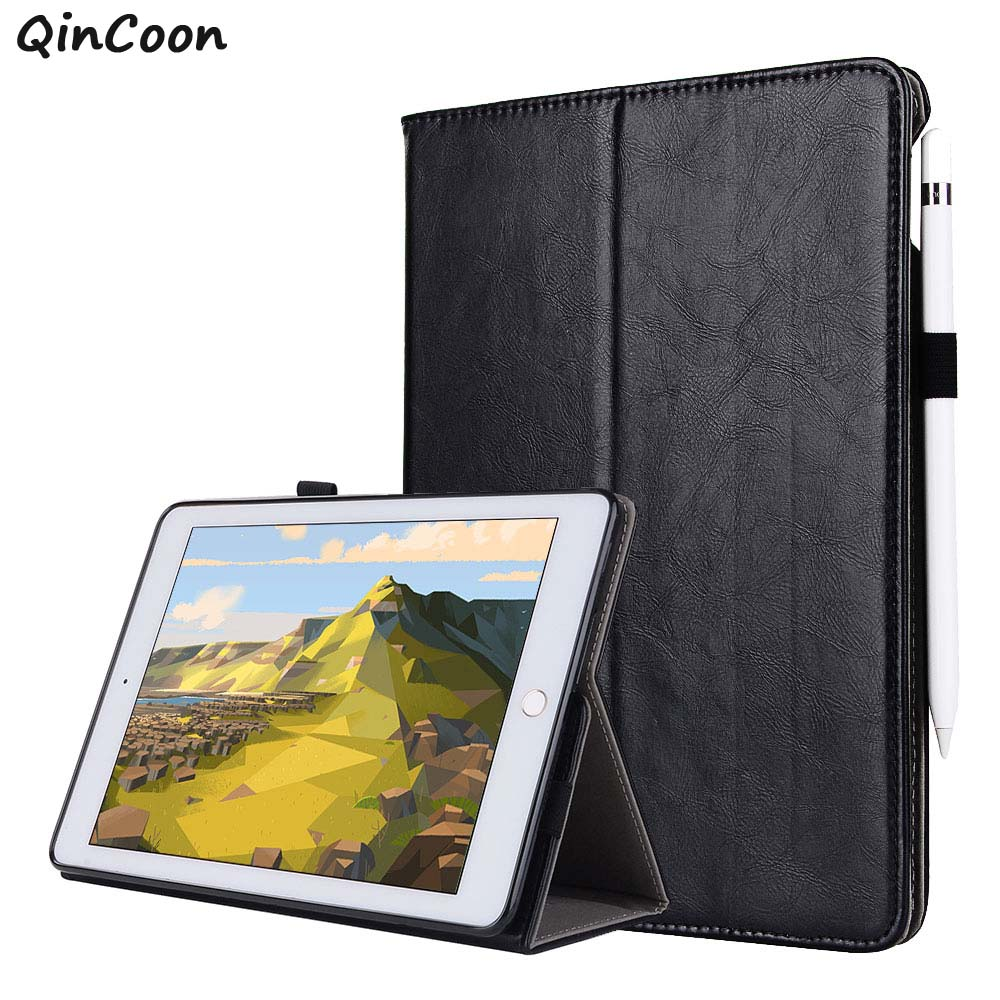 High Quality Leather + PU Case for iPad mini 4 Folding Stand + Hand Strap + Pencil Holder + Card Smart Case Cover Funda Coque