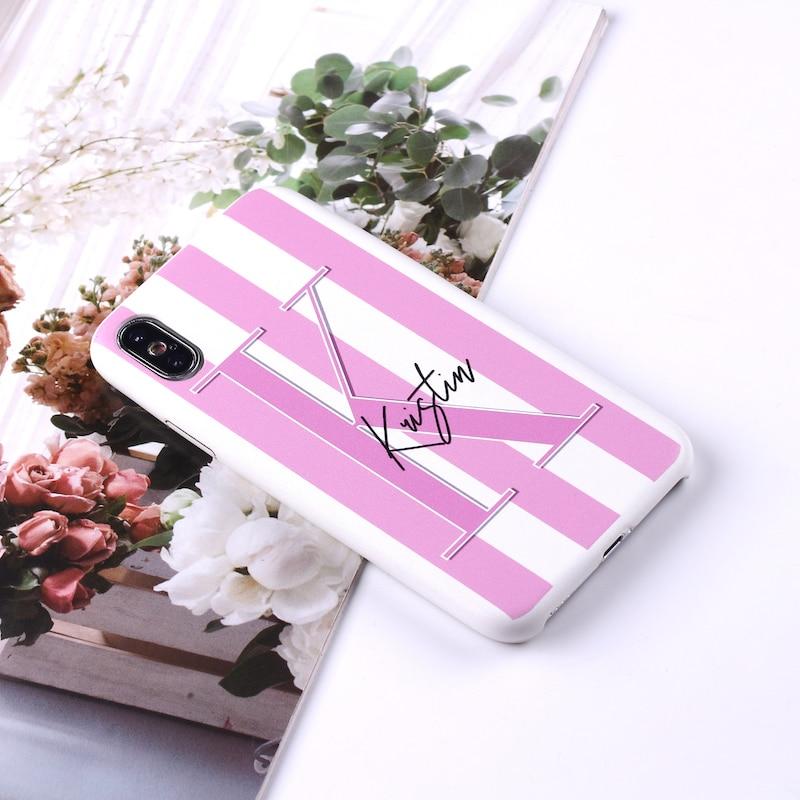 Сексуальные розовые губы, индивидуальный именной Полосатый чехол для телефона из искусственной кожи для iPhone 11 Pro X XS Max XR 7 7Plus 8 8Plus - Цвет: 1-Initial and Name