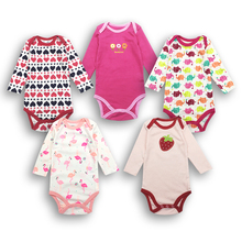 random 5pieces/lot Newborn Baby girl Clothes Cartoon Printed long sleeve cotton Bodysuits kid Clothing