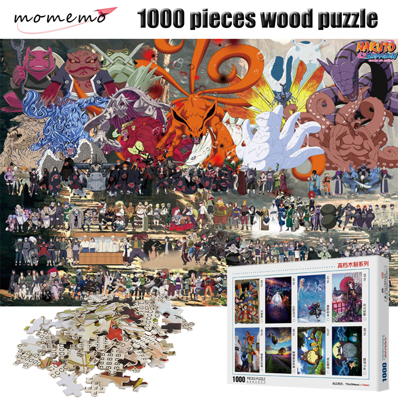 MOMEMO Wooden Puzzle 1000 Pieces Cartoon Anime NARUTO High Definition Puzzles Assembling Toys for Adult Children Toys Gifts