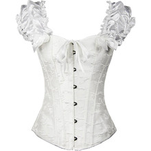 a5afc276fe Victorian Style Corsets Lace Up Flowers Pleated Embroidered Bridal Corsets  With Ribbons(China)
