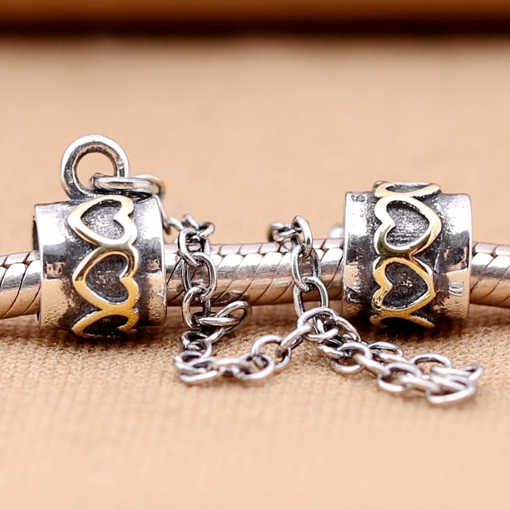Gold Charm Bracelet Charms: Real 925 Sterling Silver Two Tone Gold Color Heart Charm