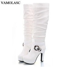 VAMOLASC New Women Autumn Winter Warm Leather Knee High Boots Sexy Square High Heel Boots Platform Women Shoes Plus Size 34-43