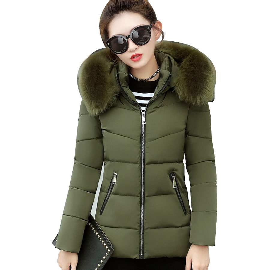 Winter coat women Cotton Padded Thicken Warm Winter jacket women Fur Collar hooded Parka Jacket female Plus size women clothing нож кухонный универсальный 150 мм samura harakiri shr 0023w
